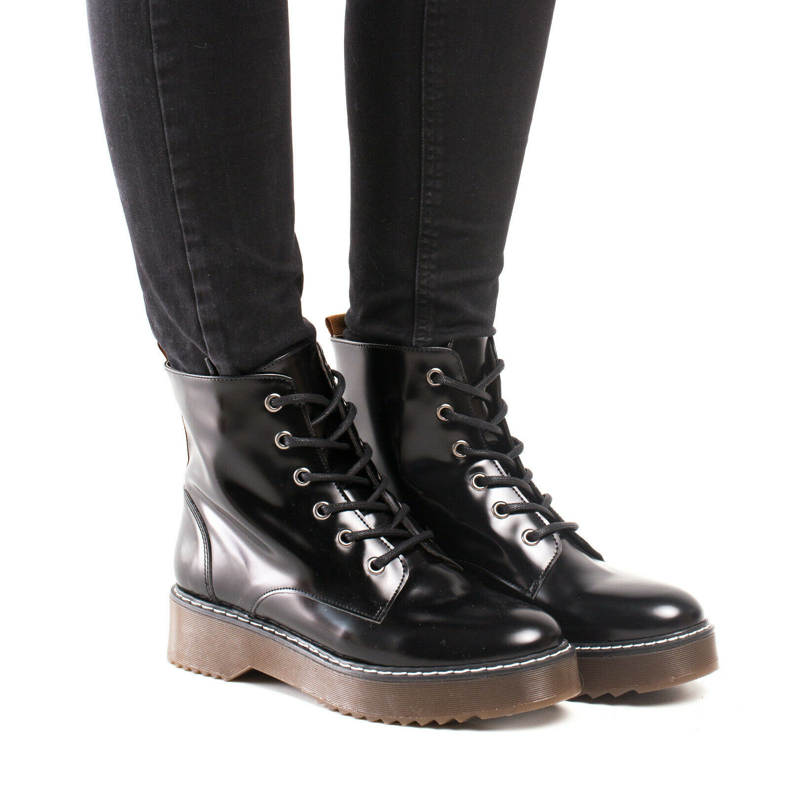 Ankle boot Lace-Up on black vegan leather style derby combat work biker urban