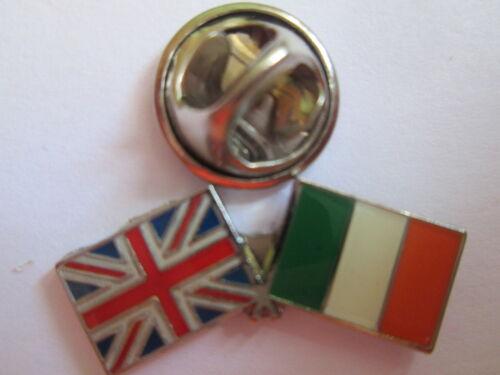 Ireland /& Uk Friendship Enamel Metal Lapel Pin  Badge 24 x 8mm L047