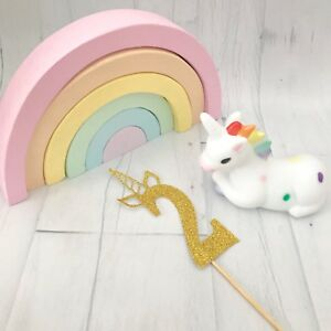 Image Is Loading 2 Unicorn Cake Topper Glitter 2nd Birthday Party