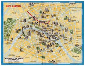 1957 Hotel Ronceray Paris - FRANCE - Hotel Issued Local Map - Monuments of Paris
