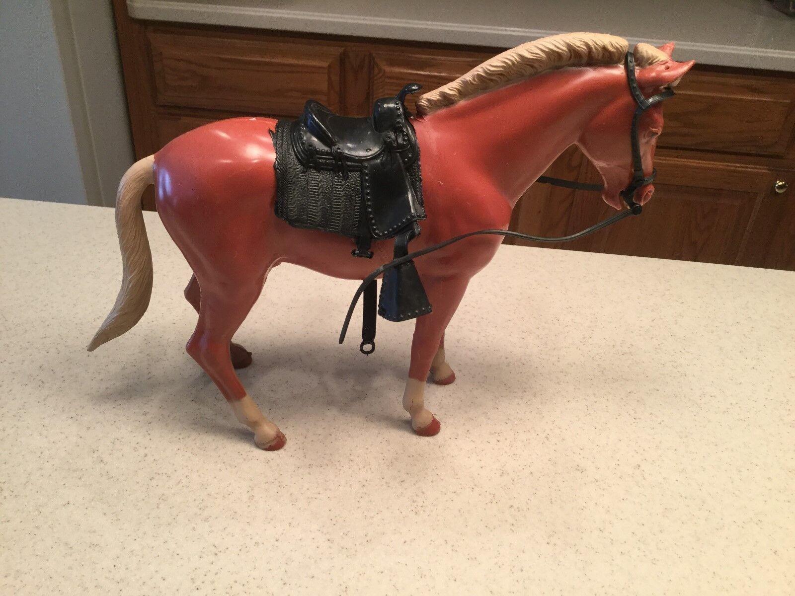 Vintage - louis marx johnny west pferd, pony soreel pancho w   sattel & zubehör