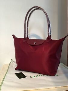 7478fb0903fa 100% Auth Longchamp Le Pliage Neo Large Tote Bag Wine 1899578009