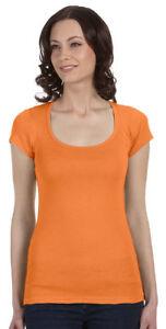 Bella-Canvas-Women-039-s-Mini-Rib-Cap-Sleeves-Scoop-Neck-Style-T-Shirt-B8703