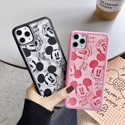 Disney Mickey Mouse Leather Case for iPhone 12 11 XR X 8 7 6 Cute Cartoon Cover | eBay