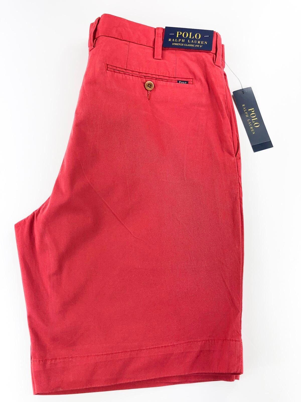 "Ralph Lauren Stretch Red Classic Fit 9"" Short."
