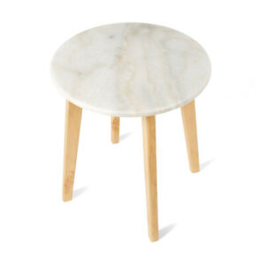 2x Set Round Marble Side Table Top Circular White Timeless Classic The Block New Ebay