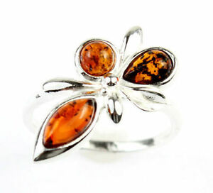 925-Sterling-Silver-amp-Baltic-Amber-Jewellery-7227CL-Designer-Ring