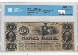 1845-Canal-Bank-New-Orleans-USA-100-Note-CCCS-UNC-65-SN-1840