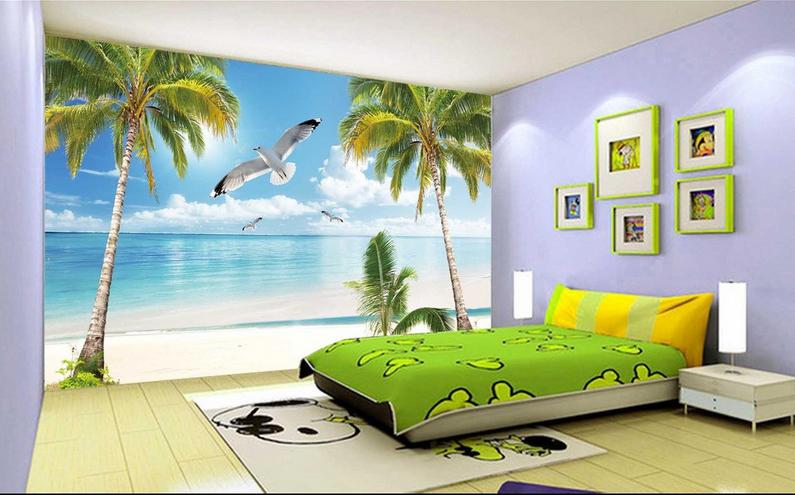 3D Blau Sky Coconut Beach93 Wallpaper Mural Paper Wall Print Wallpaper Murals UK