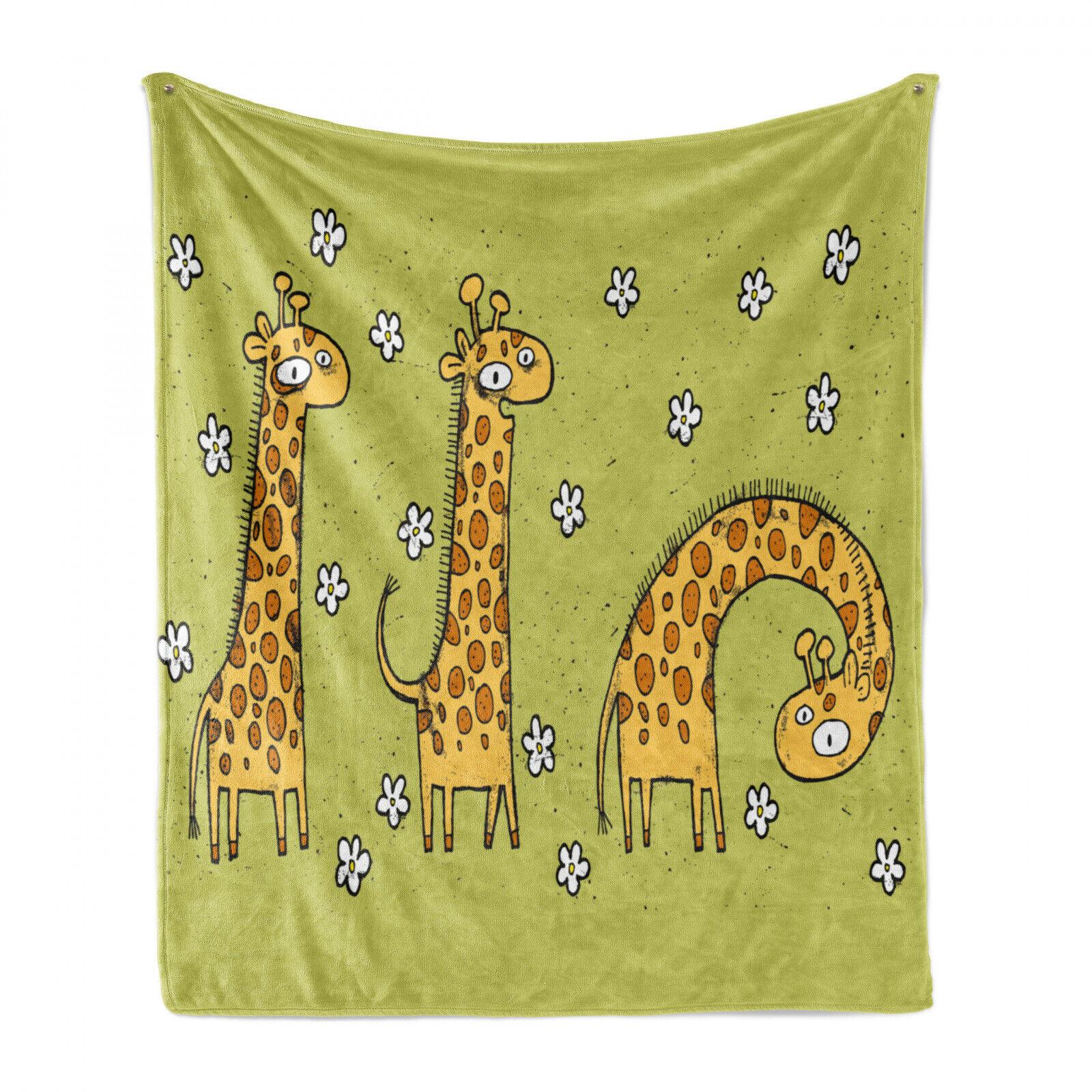 Animal Soft Flannel Fleece Blanket illustration of Giraffes