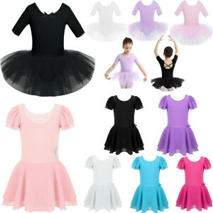UK-Kids-Girls-Ballet-Dance-Dress-Tutu-Skirt-Leotard-Ballerina-Gymnastic-Costumes