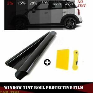 50cm-x-3M-Black-Glass-Window-Tint-Shade-Film-VLT-5-15-25-35-Auto-Car-Roll