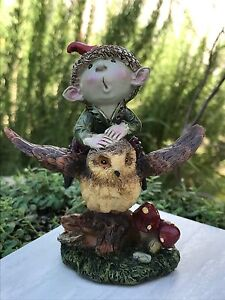 Miniature Dollhouse FAIRY GARDEN ~ Sitting PIXIE Boy Henry with Hedgehog ~ NEW