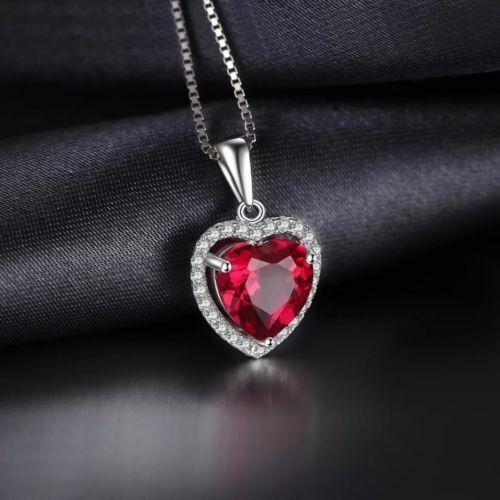 "18/"" Sterling Silver Red Garnet Spade Heart Crystal Pendant Necklace Gift Box J16"