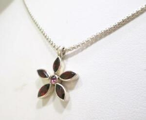 BEAUTIFUL-STERLING-SILVER-FLOWER-GARNET-amp-AMETHYST-PENDANT-NECKLACE-16-INCHES