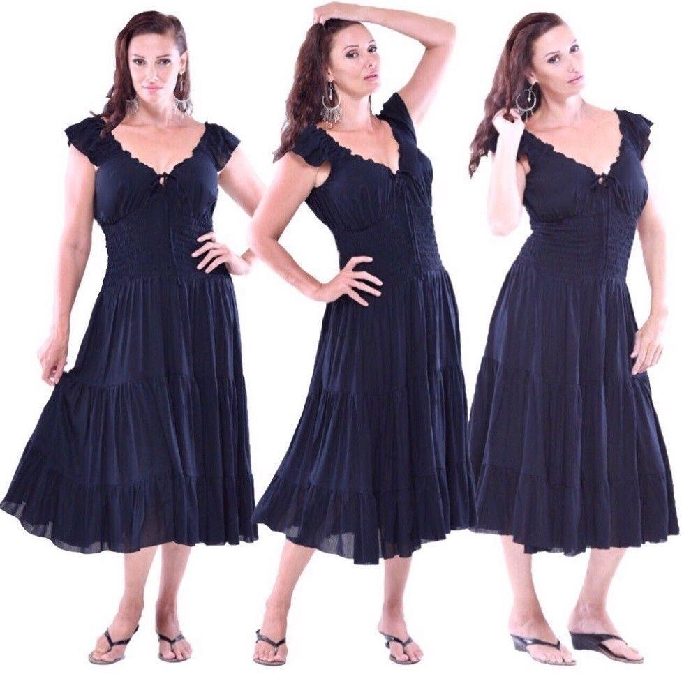 Peasant 3 4 length dress ruffling S M L XL 1X cap sleeves