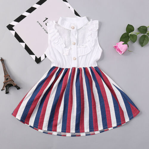 Toddler Kids Baby Girls Sleeveless Stripe Party Princess Dress Skirt Clothes UK