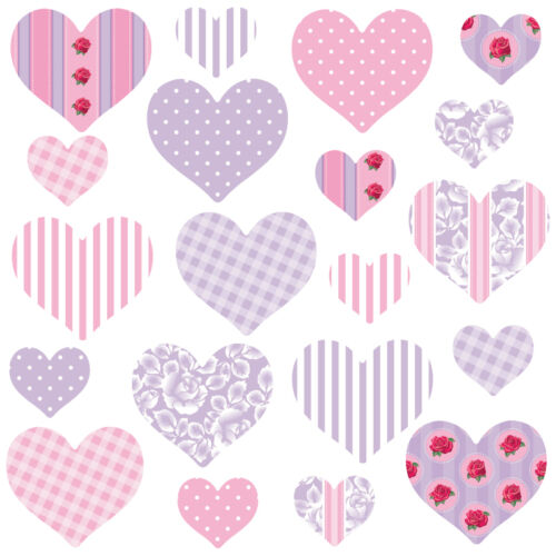 Childrens Pink Love Heart Wall Stickers PurpleHearts/&Roses Hart.11.M