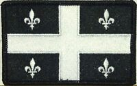 Quebec Flag Patch With Velcro® Brand Fastener Military Tactical Black & White 4