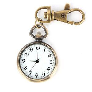 Bronze-Farbe-Rund-Anhaenger-Quarz-Uhr-Taschenuhr-Schluesselring-Damen-Kinde-Q5G2