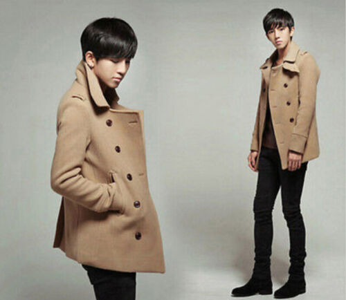 Mens Peacoat Trench Coat Double Breasted Wool Blend Fashion Jackets Slim Fit