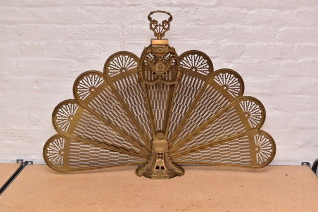 Vintage Antique French Peacock Fan, Brass Fireplace Screen Vintage