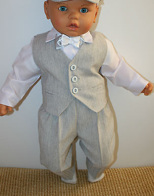 Baby Boy Christening Pageboy Formal Party Smart Suit 4 Pcs Outfit Waistcoat Grey Strengthening Sinews And Bones