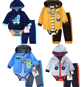 Boys-Tracksuits-Outfit-Sets-Cotton-Hooded-Jacket-BodyVest-Pants-12-18-24months
