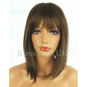 MEDIUM BROWN WIG LADIES WOMENS SHOULDER LENGTH LAYERED BOB FULL HEAD ... c2549c9d0