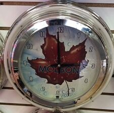 """Molson Canadien Beer Maple Leaf 14"""" Double Ring Neon Clock - BEAUTIFUL!!!"""