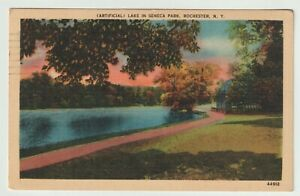 1947-Postmarked-Postcard-Artificial-Lake-in-Seneca-Park-Rochester-New-York-NY