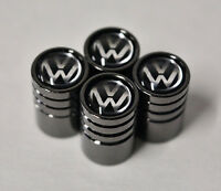 Black Chrome Car Wheel Tyre Tire Air Valve Caps Stem Cover With Volkswagen Logo