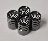Black Chrome Car Wheel Tyre Tire Air Valve Caps Stem Cover With Volkswagen Logo