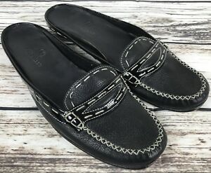 Womens-COLE-HAAN-D18611-Black-Leather-Loafers-Driving-Shoes-Flats-SIZE-7-5-B