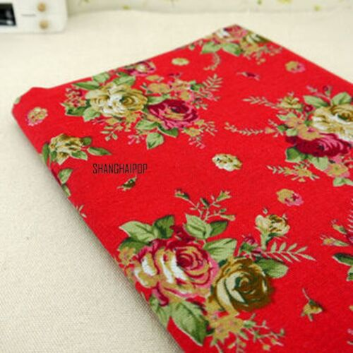 Linen Rose Flower Fabric Ethnic for DIY Bag Craft Clothes Dress Skirt Blouse New