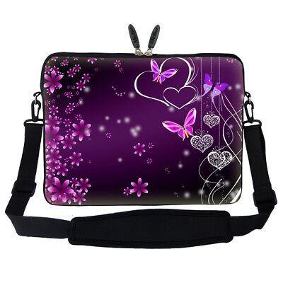 """14/"""" Laptop Computer Sleeve Case Bag w Hidden Handle /& Shoulder Strap 2503"""