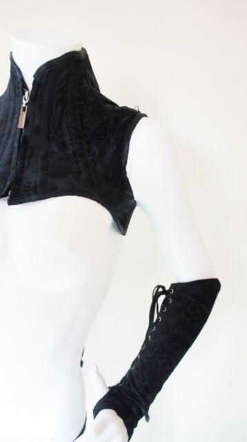 Black Extreme Shoulder Corset with Gloves Neck Harness Binder fancy dress