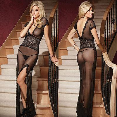 Women's Hot Lingerie Lace Dress Babydoll Sleepwear Underwear G-String Nightwear@