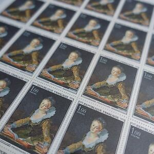 FEUILLE-SHEET-STAMP-PICTURE-The-of-039-ETUDE-FRAGONARD-No-1702-x25-1972-LUXE-MNH