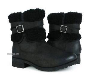 9aaa6372968d Image is loading UGG-Blayre-III-Black-Leather-Fur-Boots-Womens-