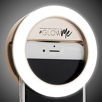 GlowMe Rechargeable LED Selfie Ring Light by Impressions Vanity Co. (Gold)