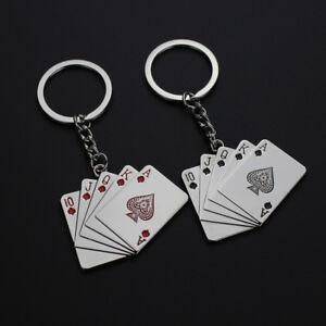 Poker Key Chain Men Male Personality Metal Key Chains Key Rings Keyrings NSER