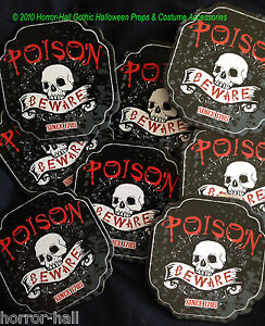 Gothic Poison Beware Skull Coasters Bar Drink Pirate Party