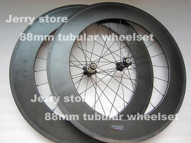 88mm  deep carbon fiber bike wheelset 700C road tubular wheels  factory direct