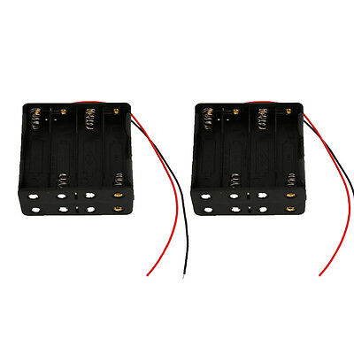 """2 pcs New 8 AA 2A Battery 12V Clip Holder Box Case with 6"""" Leads Black"""