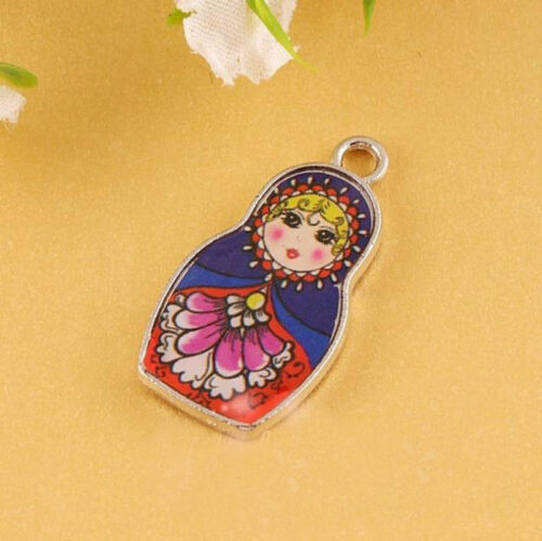 27X14MM Two-Sided Enamel Matryoshk Russian Doll Charms Necklace Pendant DIY 5Pcs