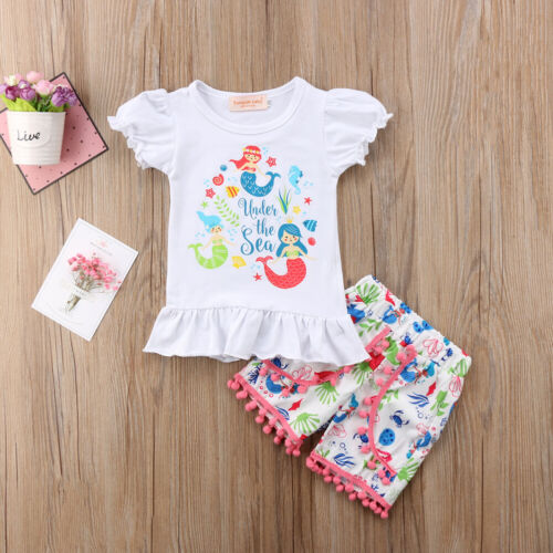NEW Mermaid Under the Sea White Short Sleeve Shirt Shorts Outfit Set 2T 3T 4T 5T