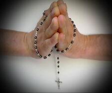 Hematite Black Rosary Necklace Jerusalem Holy Bible Land Sand Soil & Jesus Cross