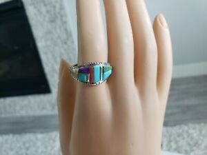 David-Tune-Sterling-Silver-Multi-Stone-Ring-Navajo-Turquoise-Red-Coral-Sz-9-25