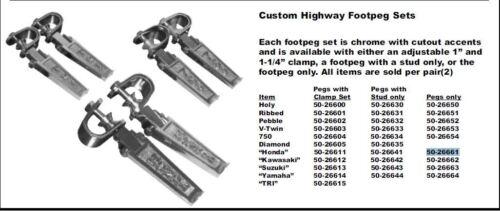 Emgo Custom Highway Footpeg Set Honda Chrome Pegs ONLY 50-26661